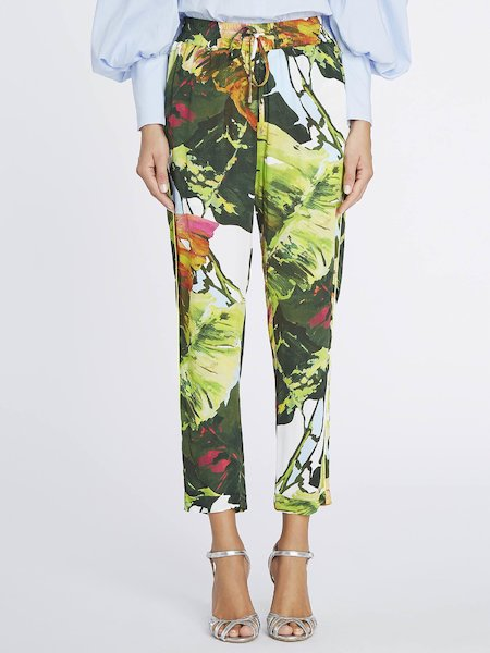 Cropped trousers with tropical print