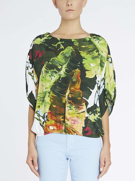 Sack blouse with tropical print