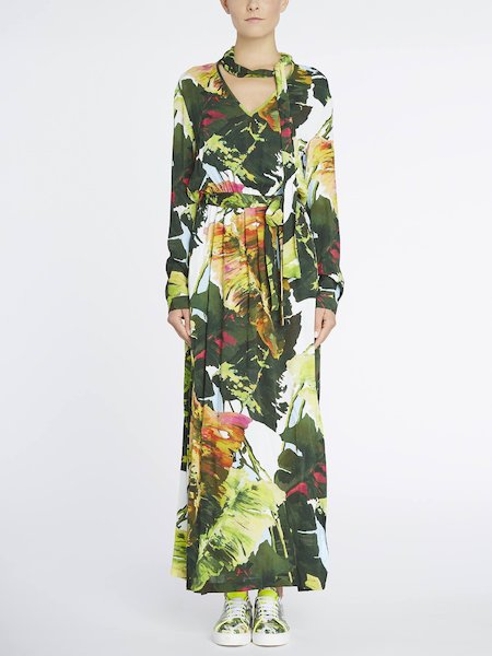 Langes Kleid mit Tropical-Print