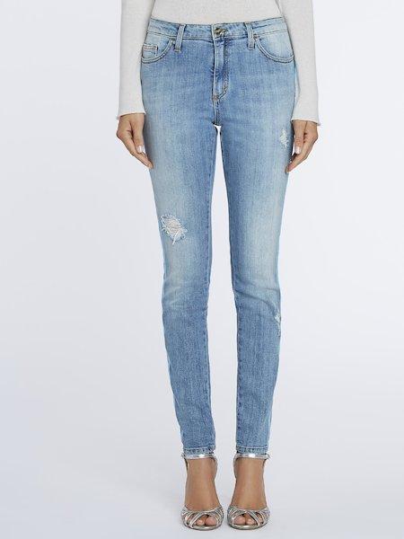 Jean skinny à bandes pailletées