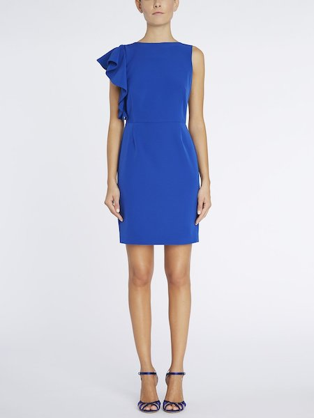 Sheath dress with maxi flounce - blue