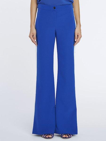 Pantalon palazzo avec bandes contrastantes - bleu