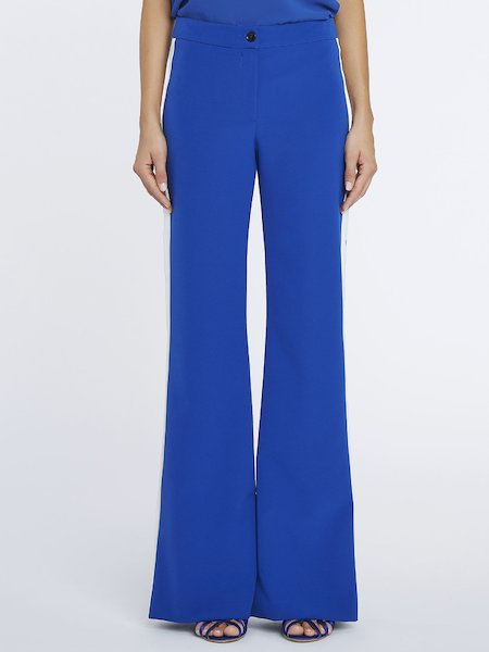 Palazzo trousers with contrasting bands - blue