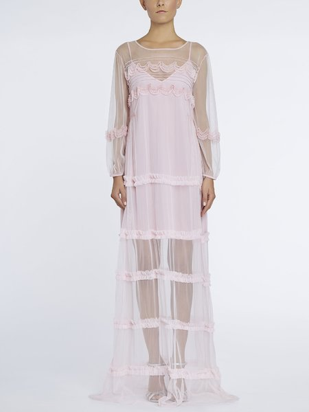 Long dress in tulle with ruffles - pink