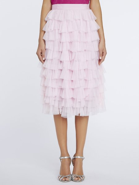 Midi-skirt with tulle flounces - pink