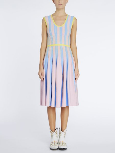 Dress in striped knit - blue