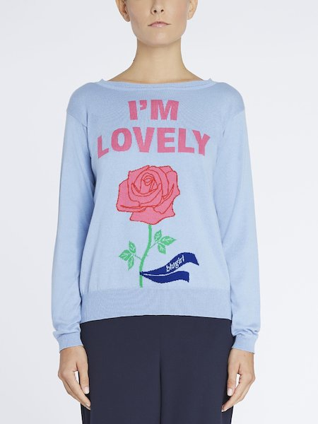 Sweater featuring I'm Lovely intarsia writing