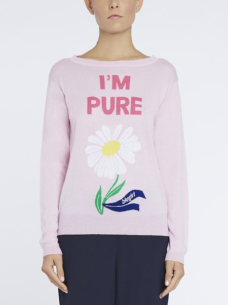 Cotton sweater with I'm Pure intarsia writing