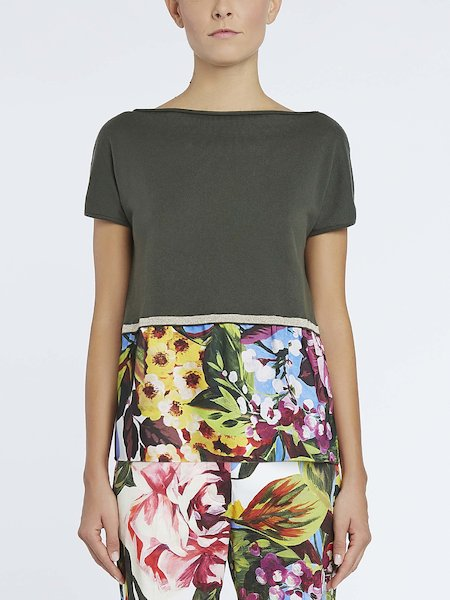 Sweater with floral-print inset