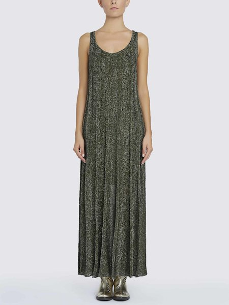 Long dress in knit Lurex - Green