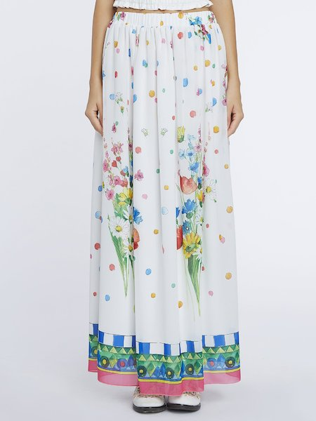 Long skirt with poppy print