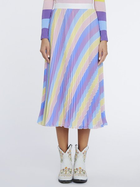 Striped-print pleated skirt