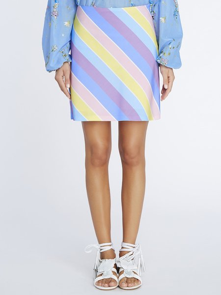 Mini-skirt with striped print - Multicolored