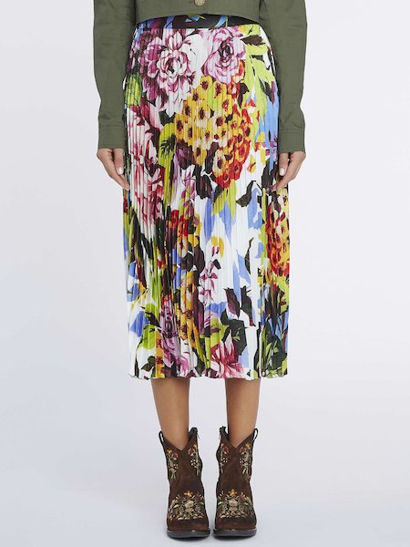 Pleated midi-skirt with floral print - Multicolored