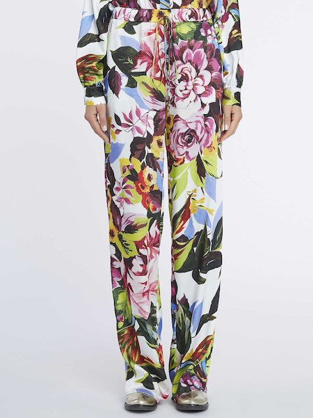 Floral-print trousers with drawstring