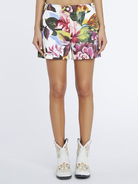 Floral-print cotton shorts