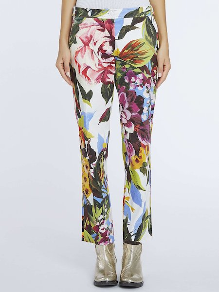 Cigarette-leg trousers with floral print - Multicolored