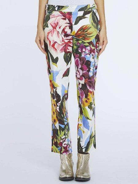 Röhrenhose mit floralem Print