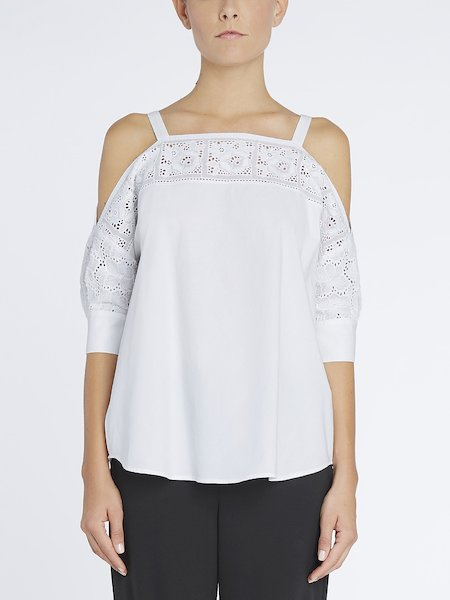 Bare-shoulder blouse with embroidery - white