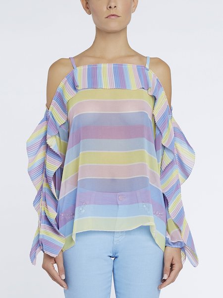 Pleated blouse in striped print