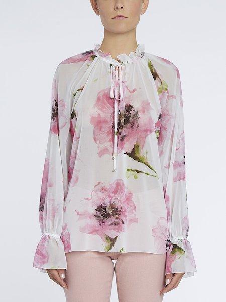 Блуза с принтом анемонов - розовый