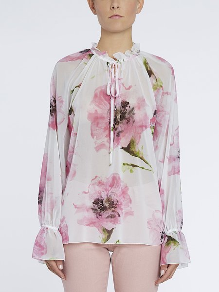Blusa con estampado de anémonas