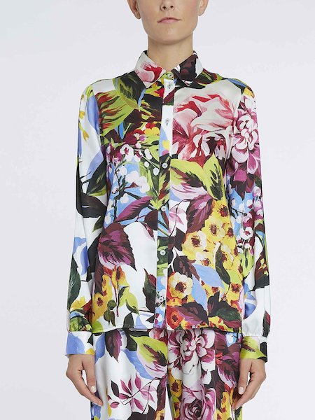Long-sleeved shirt with floral print - Multicolored