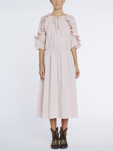 Midi-dress with ruffles - pink
