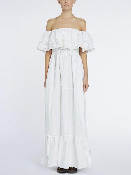 Длинное платье с большим воланом