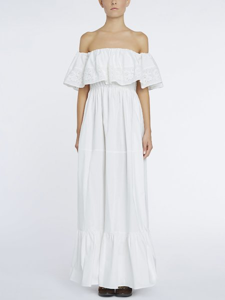 Long dress with maxi-flounce - white