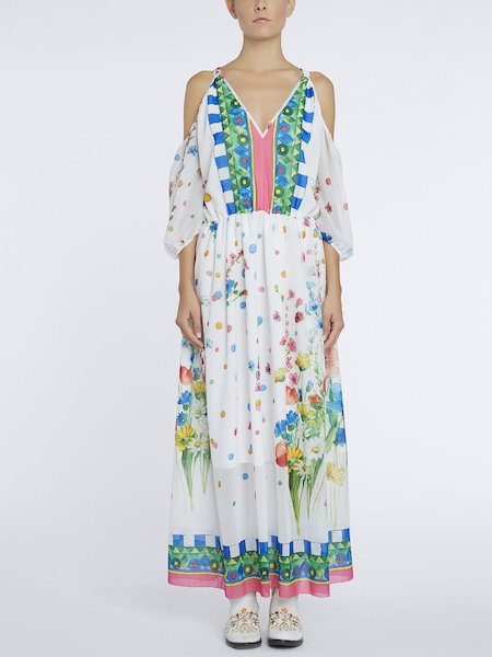 Long bare-shouldered dress - Multicolored