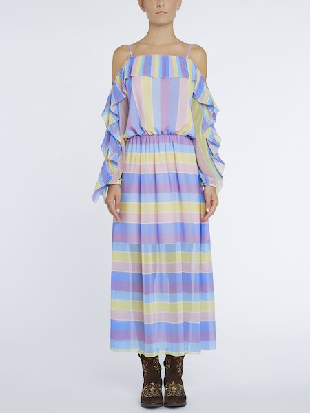 Long dress with striped print and pleats