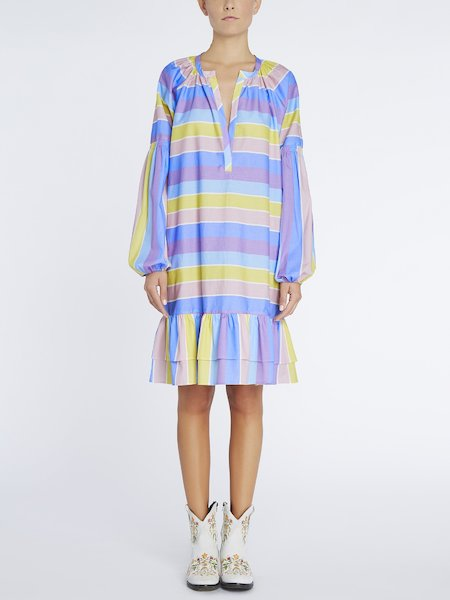 Cotton dress with striped print