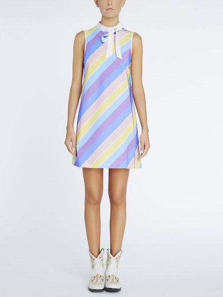 A-line dress with striped print - Multicolored
