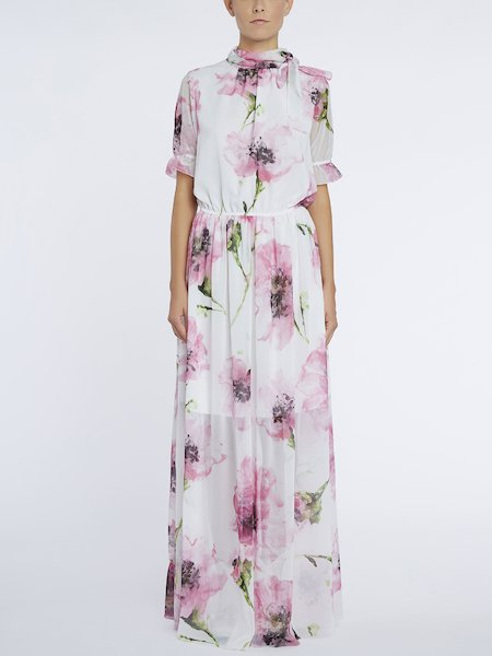 Long dress with anemone print - pink