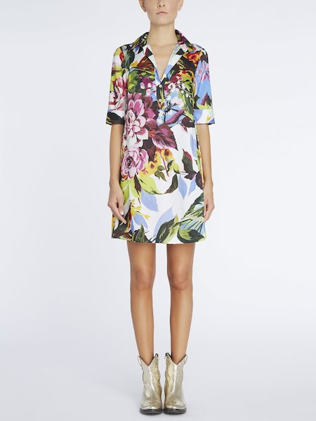 Shirt-dress with floral print - Multicolored