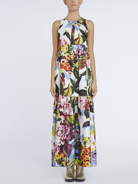 Long floral-print dress - Multicolored