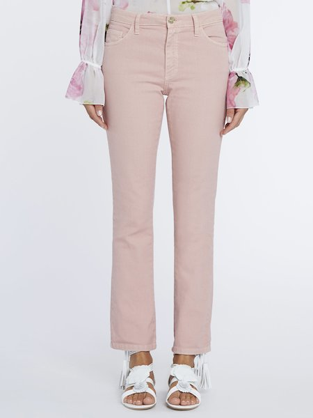 Cigarette-leg trousers with small studs - pink
