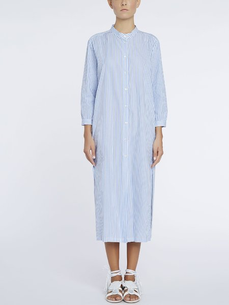 Shirt-dress with striped print - white