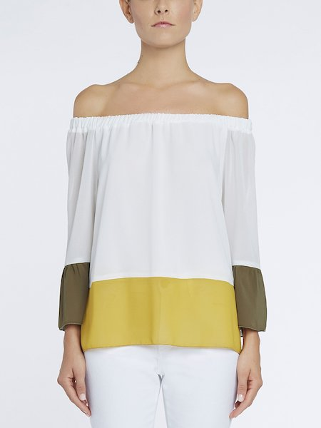 Bare-shouldered colour-block dress