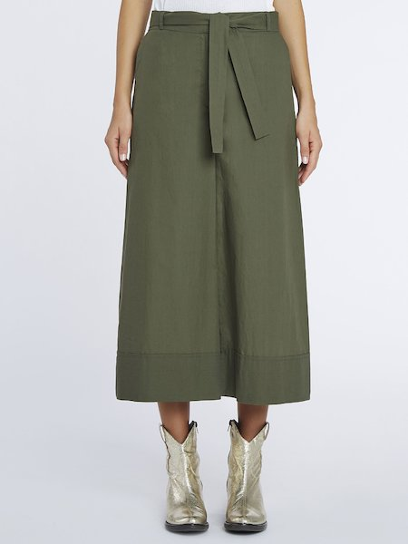 Cropped cotton trousers - Green