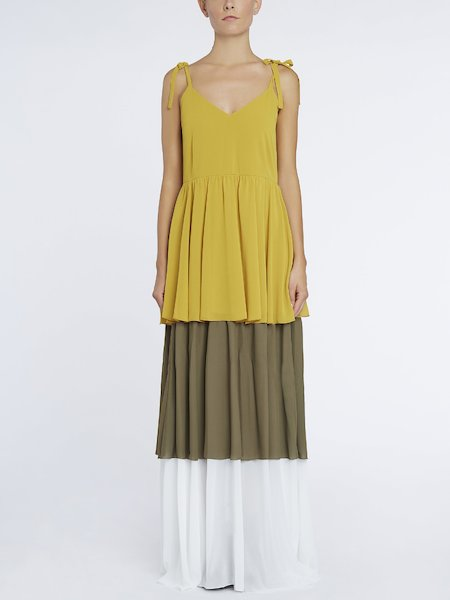 Long colour-block dress with flounces