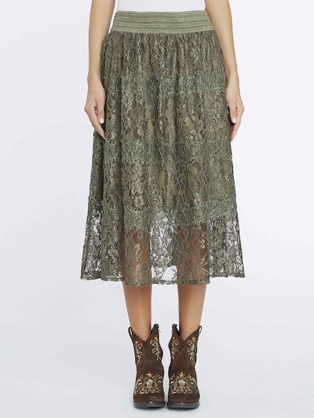 Midi-skirt in lace - Green