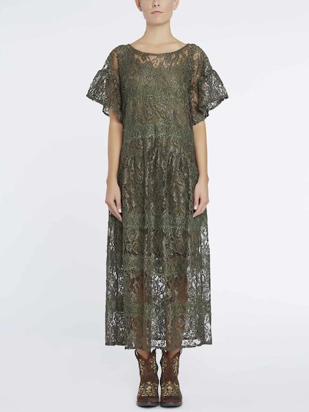 Midi-dress in lace - Green