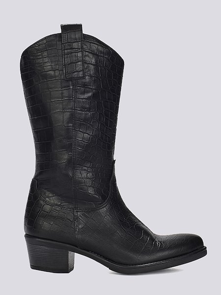 Cowboy boots embossed to resemble crocodile hide