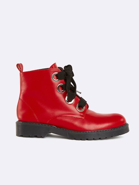 Ankle boots in velvet with laces - ROJO
