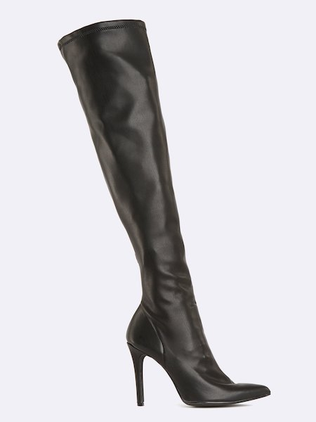 Thigh-high pointed boots with stiletto heels
