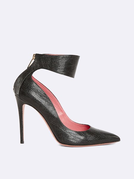 High-heel pumps in leather with ankle strap - Noir