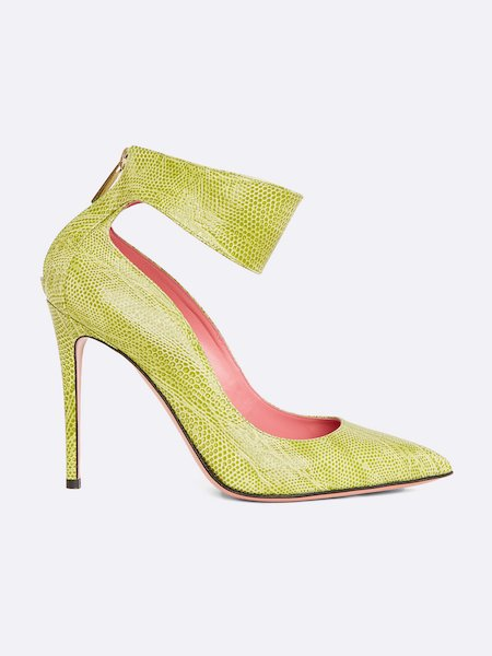 High-heel pumps in leather with ankle strap - Amarillo