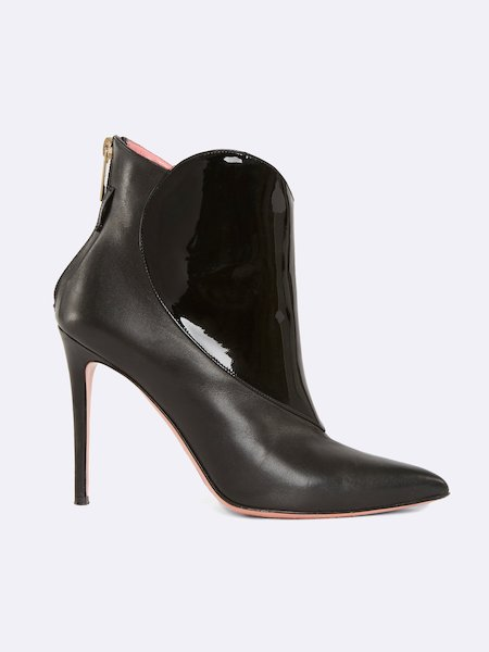 Ankle boots in leather with heart inset and zipper - Schwarz